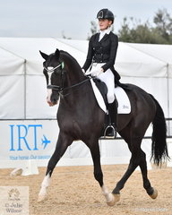 Jessica Dertell rode the imported stallion, Zanzibar to second place in the Stable Ground FEI U25 Grand Prix, scoring 65.47%.