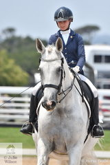 Lainey Sandford and Yarramee Merlin look good during their Medium 4C test on day three of the 2Construct Victorian Youth Dressage Championships.