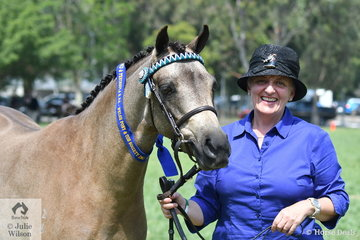 Tracey Montebello is pictured with her Three Year Old Part Welsh Filly and Reserve Champion Part Welsh Filly, 'Springtime Sweet Charity' (Keira Park Cascade/Springtime Harmony).
