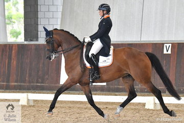Holly Leach from New Zealand rode Sugarloaf Amnesty to fourth place in the Young Horse 7 Year Old Round 1.