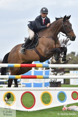 Kristy Bruhn from South Australia rode the well performed Jack to fifth place in the Open 135cm Art 238.2.1. on the opening day of the Homes and Acreage 2020 Boneo Classic.