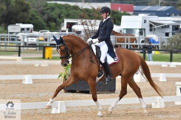 Riley Alexander riding G, J and K Farrell's, Larenso placed fifth in the FEI Grand Prix CDI3*, scoring 68.17%.