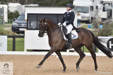 Rozzie Ryan rode J and H Bevan's, Jarrah R to sixth place in the FEI Grand Prix CDI3*, scoring 67.91%.