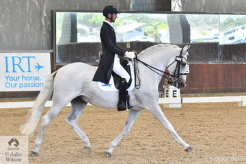 Vay Snyman rode Rebecca Williams-O'Brien's, charming stallion, Asceta Datela in the FEI Intermediate I CDN.