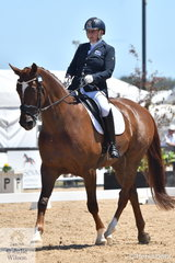 Rachel Hughes from New Zealand rode HPH Benedict to third place in the Individual Test Grade 3 CPEDI.