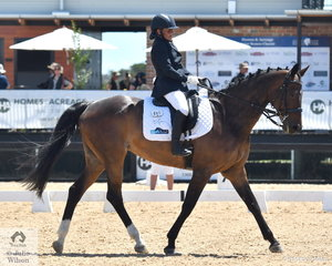 Joann Formosa riding Jennifer Burn's,  Sirrah Park Cameo took fourth place in the Individual Test Grade 2 CPEDI.