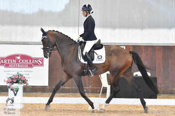 Deborah Oliver rode Highfields Fireball to third place in the Young Horse 4 Year Old Round 2, scoring 72.6%.