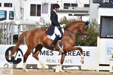 Riley Alexander from NSW rode G, J and K Farrell's, Larenso to second place in the FEI Grand Prix Special CDI3*, scoring 69.76%.