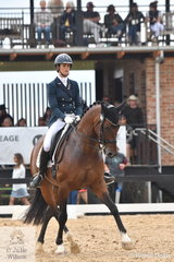 Alycia Targa rode Jane Bruce's, CP Dresden to fourth place in the IRT FEI Grand Prix Freestyle CDI3* scoring 70.13%.