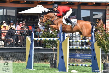 Russell Johnstone and the successful Daprice, finished in second place after jumping two clear rounds  in the Browns Sawdust World Cup Qualifier.