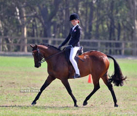 """Caitlin Dulhunty and """"Sanlirra Xceptional""""  pictured working out in the Intermediate Large Galloway class, in which they placed 2nd."""