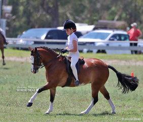"""Class winner in the Small Show Hunter Pony ring """"Rivington Little Red Corvette"""", ridden by Rubi Grubisa."""