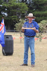 Wayne displaying the  Vic / SA State of Origin trophy.  This year won by SA.