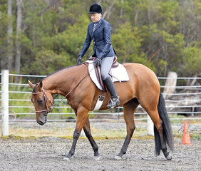 Annette Green riding  Tally S Just Got Hotter in the Junior Horse Hunter Under Saddle