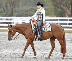 Red Hot Rhythm ridden by Jackie Becker in the Senior Horse Western Pleasure.