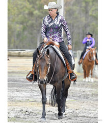 Sylvia Kidson riding The Impulsable Dream in the Select Amateur Western Pleasure.
