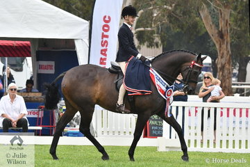 Riley Marrin rode Katie Ramsay's, 'Inafrenzy' to claim the Barastoc 2020 Child's Large Show Hack Championship.