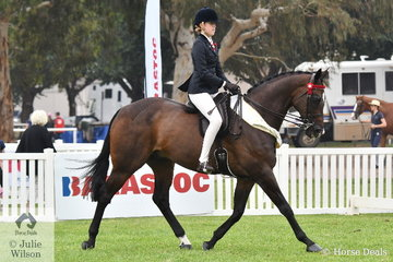 Jessica Fraser rode Natalie McKay's well performed, 'St Andrews' to take third place in the class for Child's Large Show Hack.