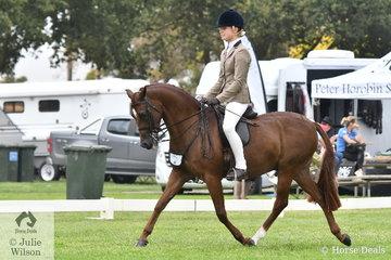 Felicity Sutherland rode Janine Orpwood's, 'Monte Christo V' to make Child's Large Show Hunter Pony Top Ten.