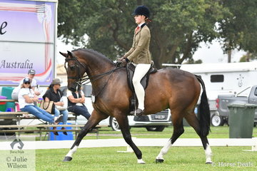 Alexandra Walsh rode Fiona Kittson-Walsh's, 'Amadeus' to claim the Child's Small Show Hunter Hack Reserve Championship.