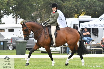 Isabelle Balkin rode Grace Imrie's, 'Equella Florentine' to take third place in the class for Child's Small Show Hunter Hack.