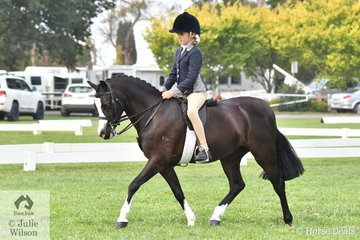 Alexandra Bowen rode her, 'Palmerston Rosie' to claim the Child's Small Show Hunter Pony Reserve Championship.