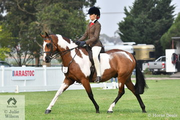 Jamie MacPherson is pictured aboard her eye catching, 'Da Vinci' during the Child's Large Show Hunter Galloway Championship.