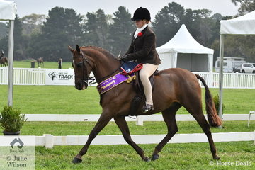 Claudia McCormick rode her well performed, 'Salisbury Masterpiece' to claim the Child's Large Show Hunter Galloway Reserve Championship.