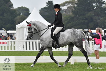 Sarah O'Connor rode her, 'Wall Street' to claim the Newcomer Small Hack Reserve Championship on day two of the 2020 Victorian Barastoc Horse of the Year Show.