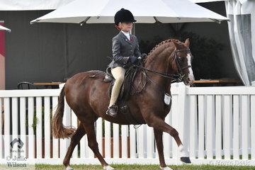 Evangeline Parsons rode Michelle Labahn's very well performed, 'Owendale Mr Perkins' to be declared Champion Rider Under 9 Years.