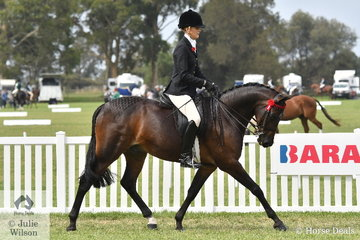 Brynie Lee rode Greg Gerry's, 'Headley Park Elusive' to take third place in the strong Large Galloway Championship.