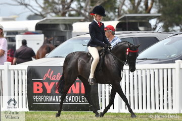 Ivy Aikman rode Joanne Dean's, 'Langtree Unique' to take third place in the 2020 Barastoc Small Pony Championship.