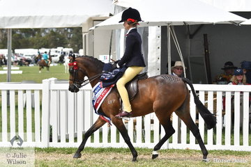 A busy Annabelle Richardson rode Annique Smith's, 'Brayside Miss Divine' to claim the Barastoc 2020 Small Pony Championship.