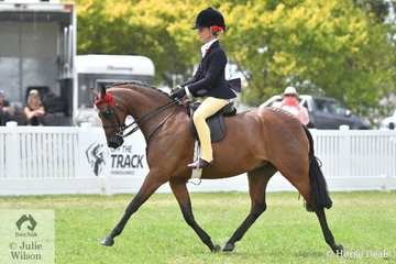 Having a great show, Annabelle Richardson rode Trinette Crawford's. 'Braeburn Park Spring Dance' to take out the Barastoc 2020 Medium Pony Championship.
