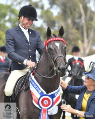 What a weekend. Greg Mickan achieved a double of doubles. He is pictured aboard Sue Thompson's beautiful Thoroughbred, 'Givenchy' that yesterday was declared Champion Newcomer Small Hack and today claimed the Barastoc 2020 Open Small Hack Championship. They are pictured being sashed by judge, Therese Higgins.