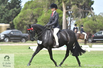 Young professional, Ebonie Lee rode her sister, Tamara's, 'Tamrie Park Regal Estella' to take third place in the strong Large Pony Championship.