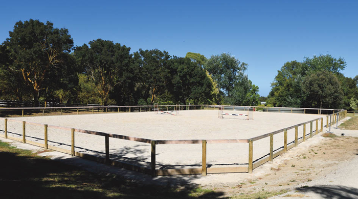 The outdoor arena, adjacent to the indoor  is 30m x 50m and has a Tri Mix sand surface with a travelling irrigator.