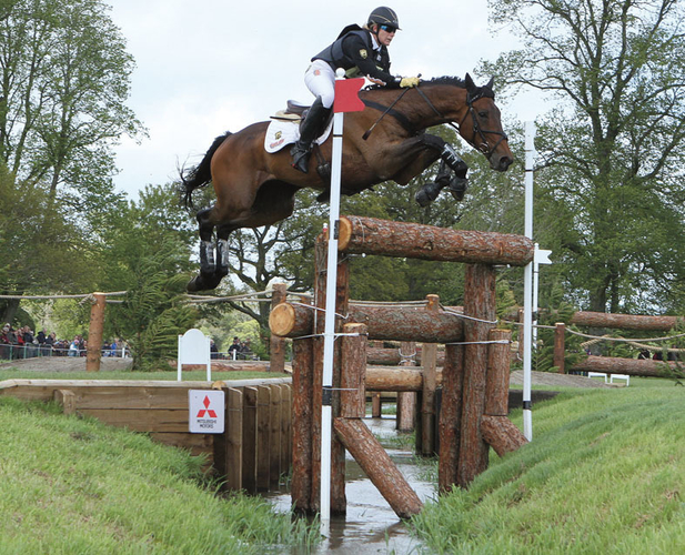 Koyuna Sun Dancer over the famous Vicarage Vee fence at Badminton 2014, where he was the only horse to jump double clear.
