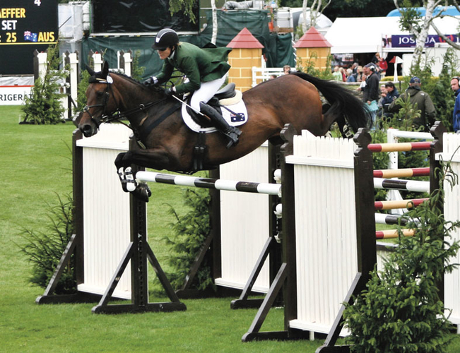 Koyuna Sun Set over the massive fences at the Hickstead Derby in 2011. She competed there again in 2014 when she qualified for the major Hickstead Derby event, going clear until she leapt off the top of the bank far too early.
