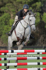 "Chelsea Hair placed 8th in the 95cm class riding ""Cassie"""