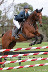 "Kristy Howarth placed 4th in the 110cm riding ""Lamington"""