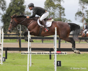 "Jason Kemp in the 110cm class riding ""Snowy River Offsider"""