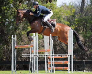 "Adam Johnston placed 4th in the 125cm class riding ""Gonna Fly Now"""