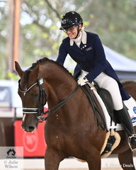 Mary Nitschke from South Australia rode her own Regardez Moi gelding, 'Utopian Cardinal' to take second place in the Intermediate II CDI U25 on day one of the 2020 Willinga Park Dressage By The Sea.