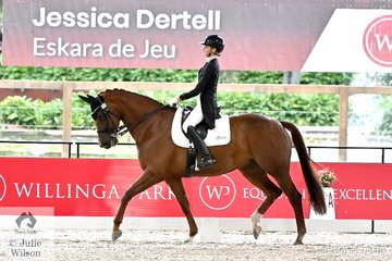 Talented Victorian rider, Jessica Dertell rode Smanatha Thomas' imported Dutch mare, 'Eskara De Jeu' by Jazz to second place in the Young Rider Team Test CDIY.