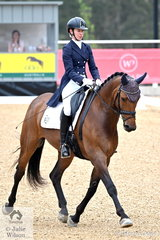 Successful Dressage rider and lawyer, Jodie Newall is pictured aboard her Royal Hit gelding, 'The Royal Huntsman C' during the Prix St Georges CDN on day one of the 2020 Willinga Park Dressage By The Sea.