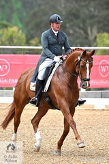 Popular New South Wales Dressage rider, Malcolm McRae is pictured aboard Carolyn Lieutenant's imported Wolkentanz gelding, 'Waitano' during the Prix St Georges CDN.