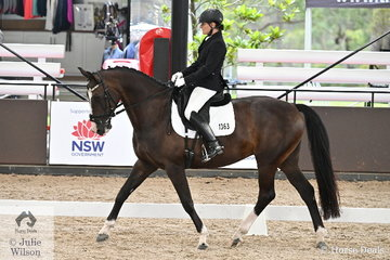 Helen Macaskill is pictured aboard her Donnerubin mare, 'Dauphine' during the Medium 4B AOR.