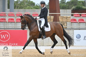 Jayden Brown rode Terry Snow's talented and imported Sir Donnerhall gelding, 'Sky Diamond' to take second place in the Intermediate A CDN with 67.706%.