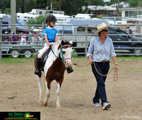 Shonia Sharpe rides her pony Presto in the Rider 6 years and under 8 Leading Rein Class in the Beginner Ring held at the Killarney Show.